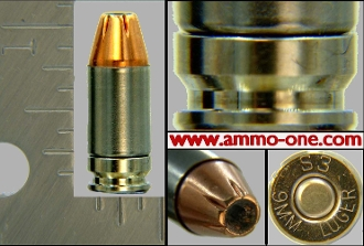 (1.) 9mm Luger, Shell Shock Case, loaded, One Cartridge