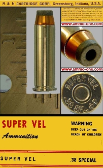 .38 S&W Special +P, Super Vel by H&H Cartridge Co. One Cartridge