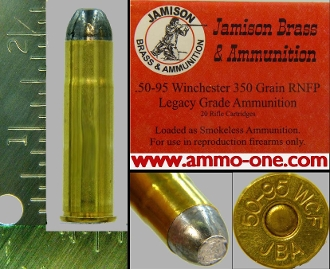 .50-95 Winchester, Jamison, Lead, One Single Cartridge