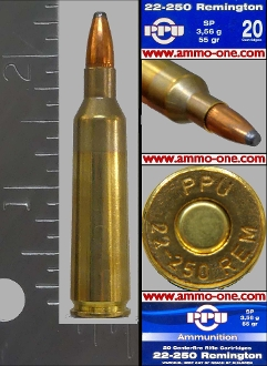 .22-250 Remington by PPU, 55 gr. JSP, One Cartridge, not a Box