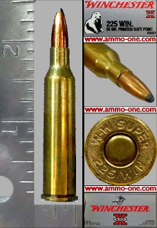 .225 Winchester by Win., 55gr. JSP, One Cartridge not a Box.